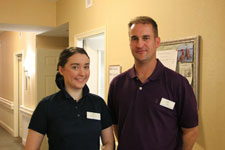 Katherine Horsley with Resident Care Director Matthew George